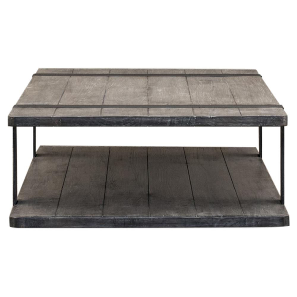 Gert industrial rustic grey brown wood slab metal coffee table kathy kuo home Rustic wood and metal coffee table