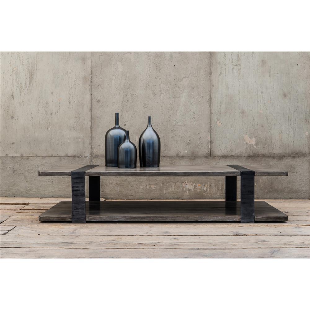 Rustic Wood Slab Industrial Coffee Table