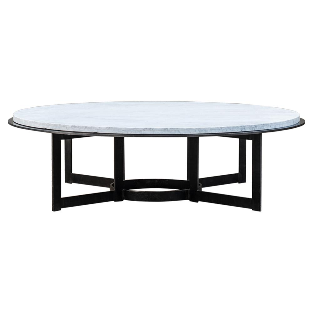 Gunnar industrial loft metal base round stone top coffee for Metal coffee table with stone top