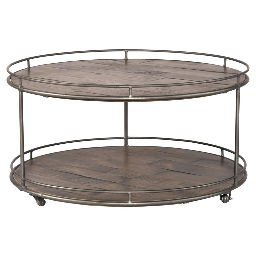 Bertha Industrial Loft Round Tier Oak Brass Frame Coffee Table - 2 tier round coffee table