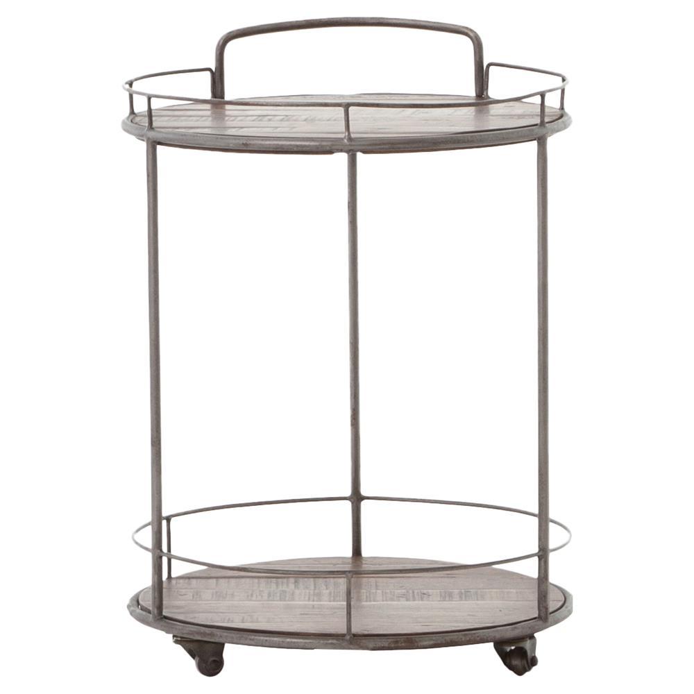 bertha industrial loft round 2 tier oak brass frame bar cart. Black Bedroom Furniture Sets. Home Design Ideas