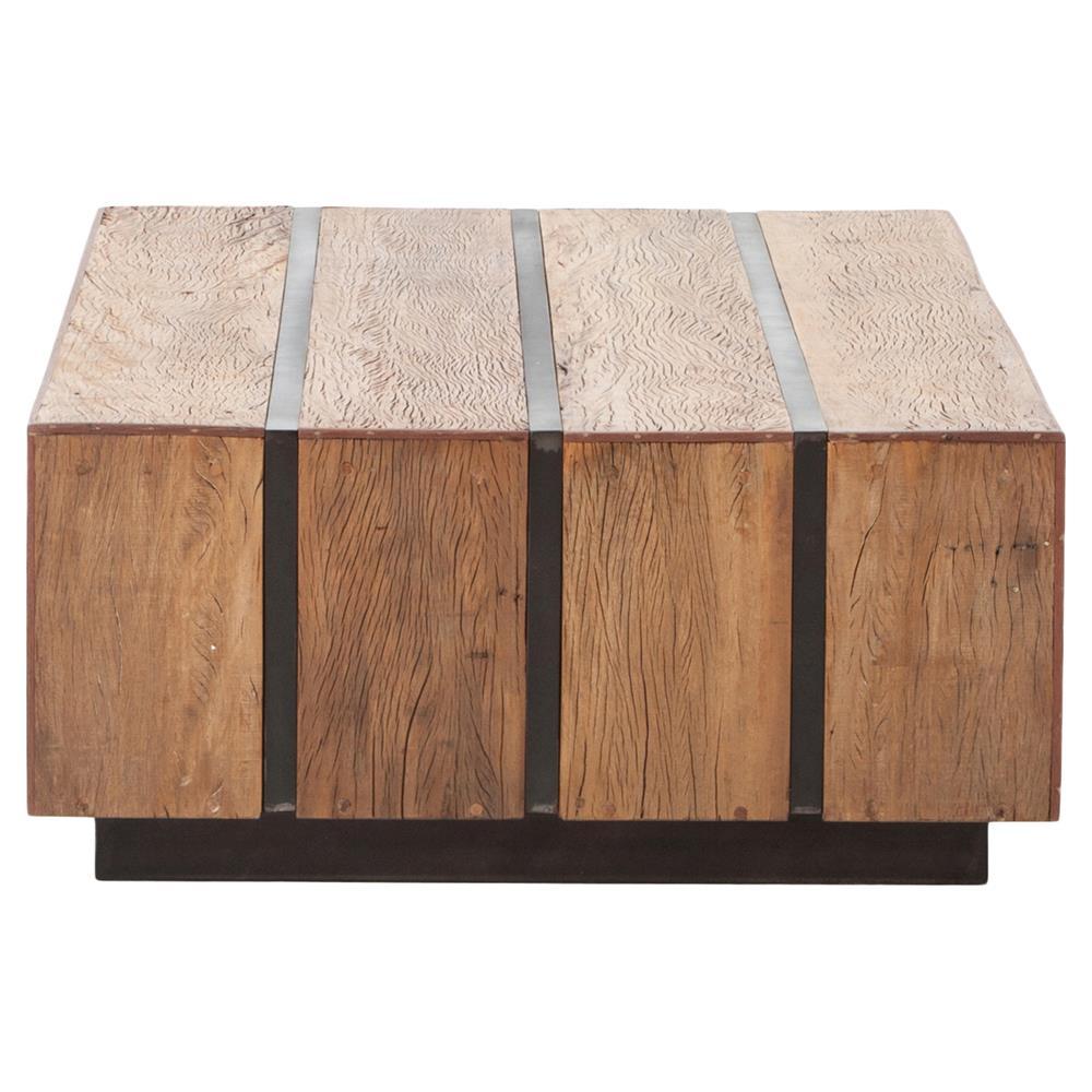 Boyce Rustic Lodge Honey Wood Block Metal Coffee Table   Kathy Kuo Home. Boyce Rustic Lodge Honey Wood Block Metal Coffee Table   Kathy Kuo