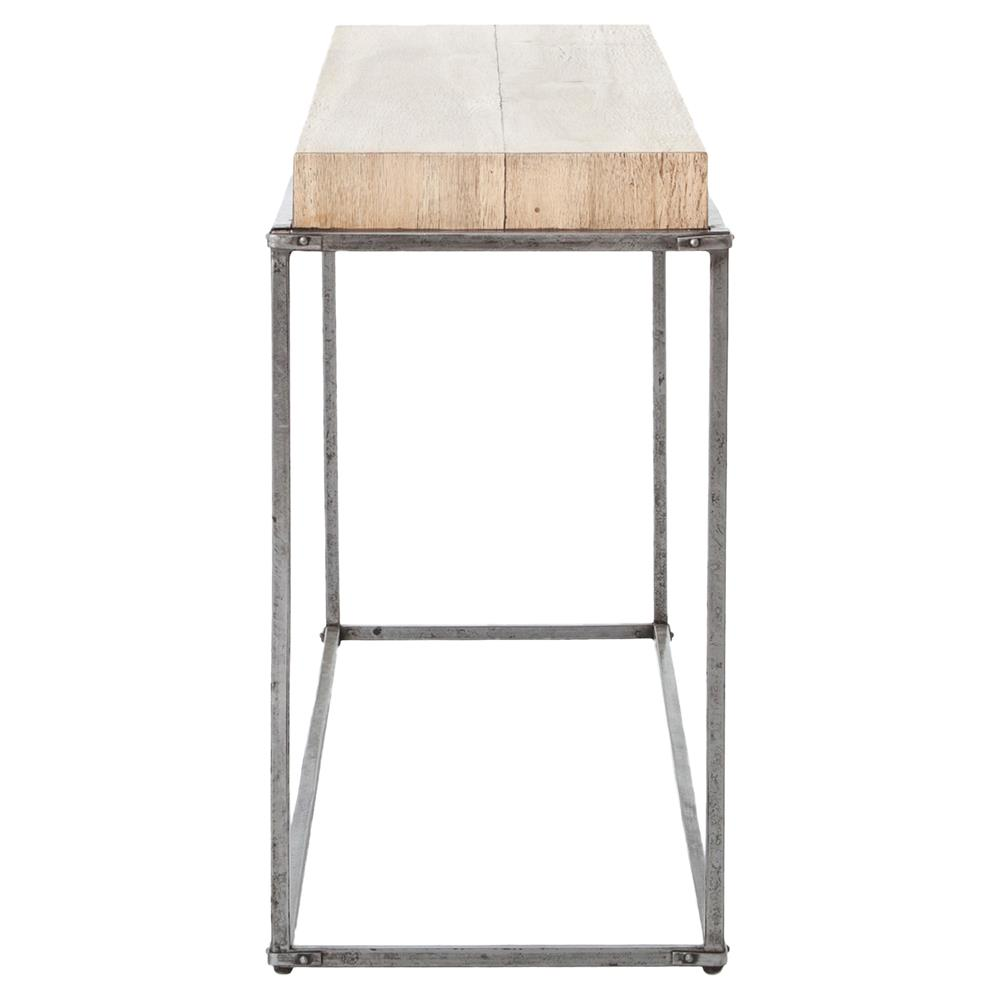reyner industrial loft worn metal natural wood top console table kathy kuo home. Black Bedroom Furniture Sets. Home Design Ideas