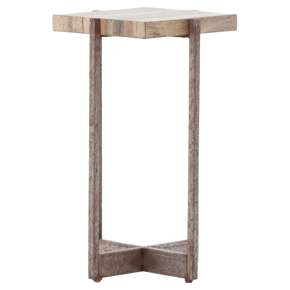 Renard rustic antique metal square wood side end table for Rustic side table
