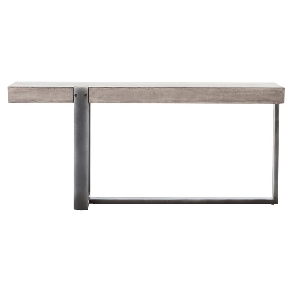 frantz industrial asymmetrical grey metal concrete console table  - view full size