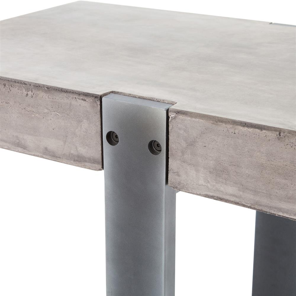 frantz industrial grey metal concrete console table kathy kuo home