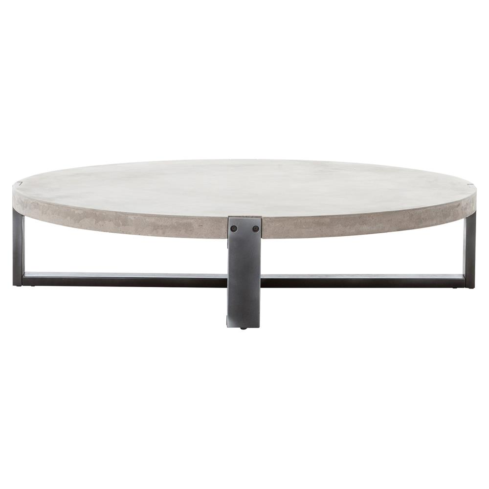 ... Frantz Loft Modern Grey Concrete Low Round Coffee Table   55D | Kathy  Kuo Home ...