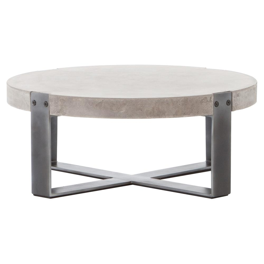 Frantz Loft Modern Grey Concrete Low Round Coffee Table 30d Kathy Kuo Home