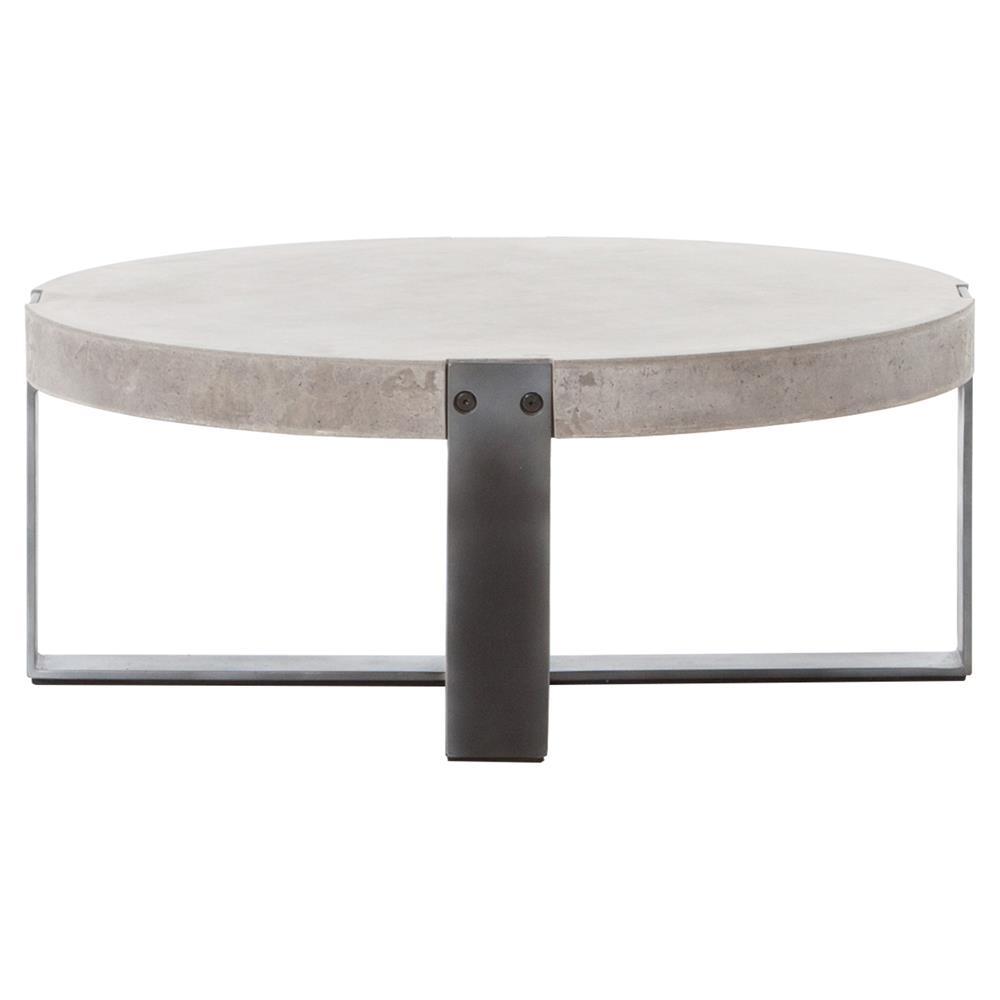Frantz Loft Modern Grey Concrete Low Round Coffee Table 30D
