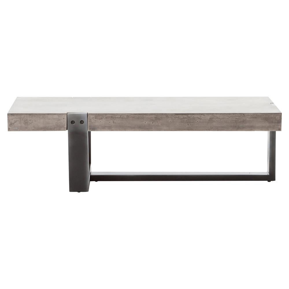 Frantz Loft Modern Grey Metal Concrete Low Coffee Table 48w Kathy Kuo Home