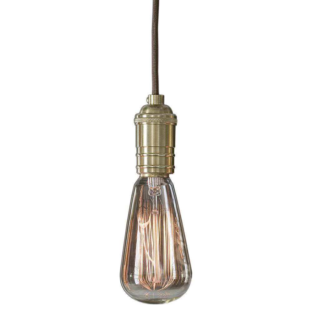 Dillon industrial edison bulb brass pendant set of 4 for Industrial bulb pendant