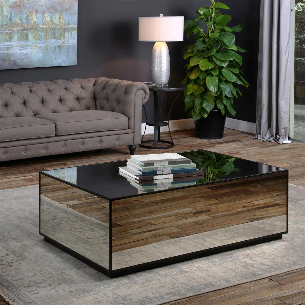 Low Square Mirrored Coffee Table: Tila Modern Industrial Black Mirror Block Coffee Table