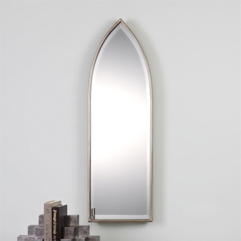 Gothic modern classic silver arch mirror kathy kuo home for Classic mirror