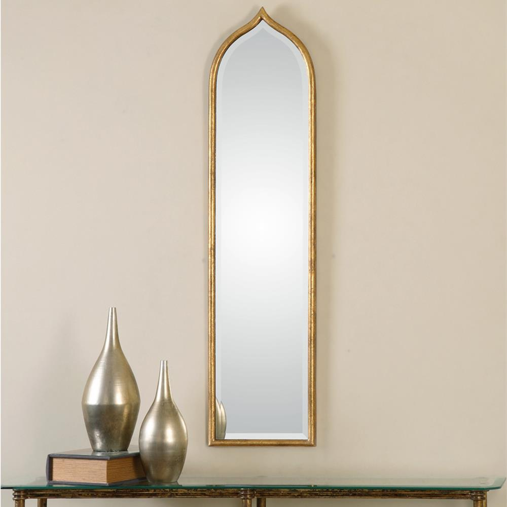 Dala bazaar antique gold narrow arch mirror kathy kuo home for Long narrow mirror