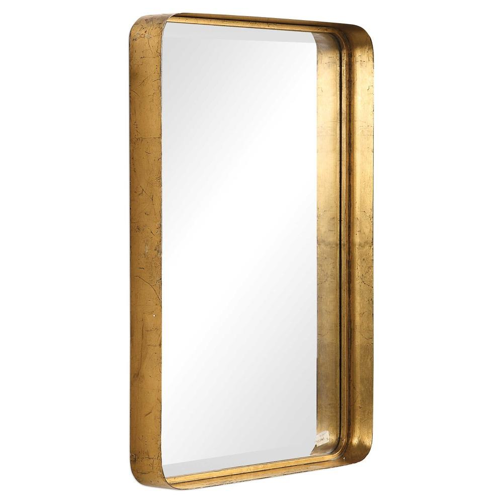 Rofel Modern Classic Gold Metal Strap Mirror Kathy Kuo Home