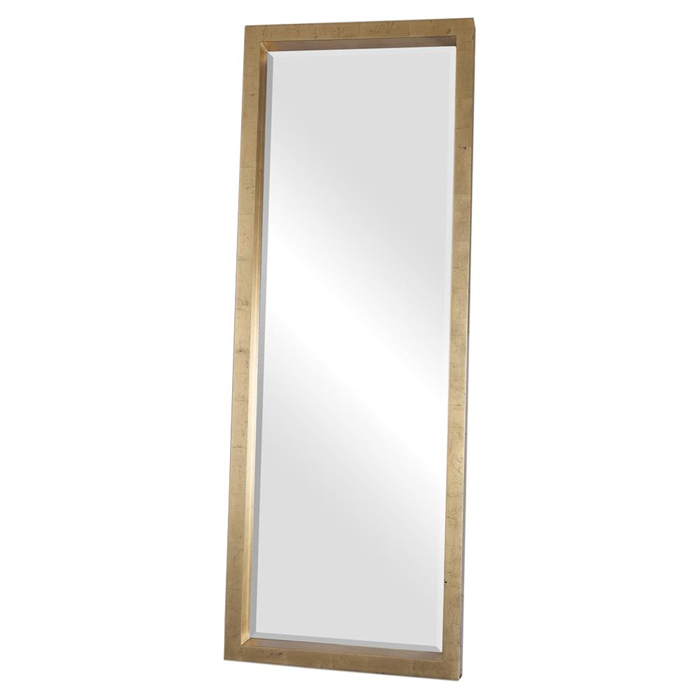Eda hollywood antique gold block floor mirror kathy kuo home for Gold floor standing mirror