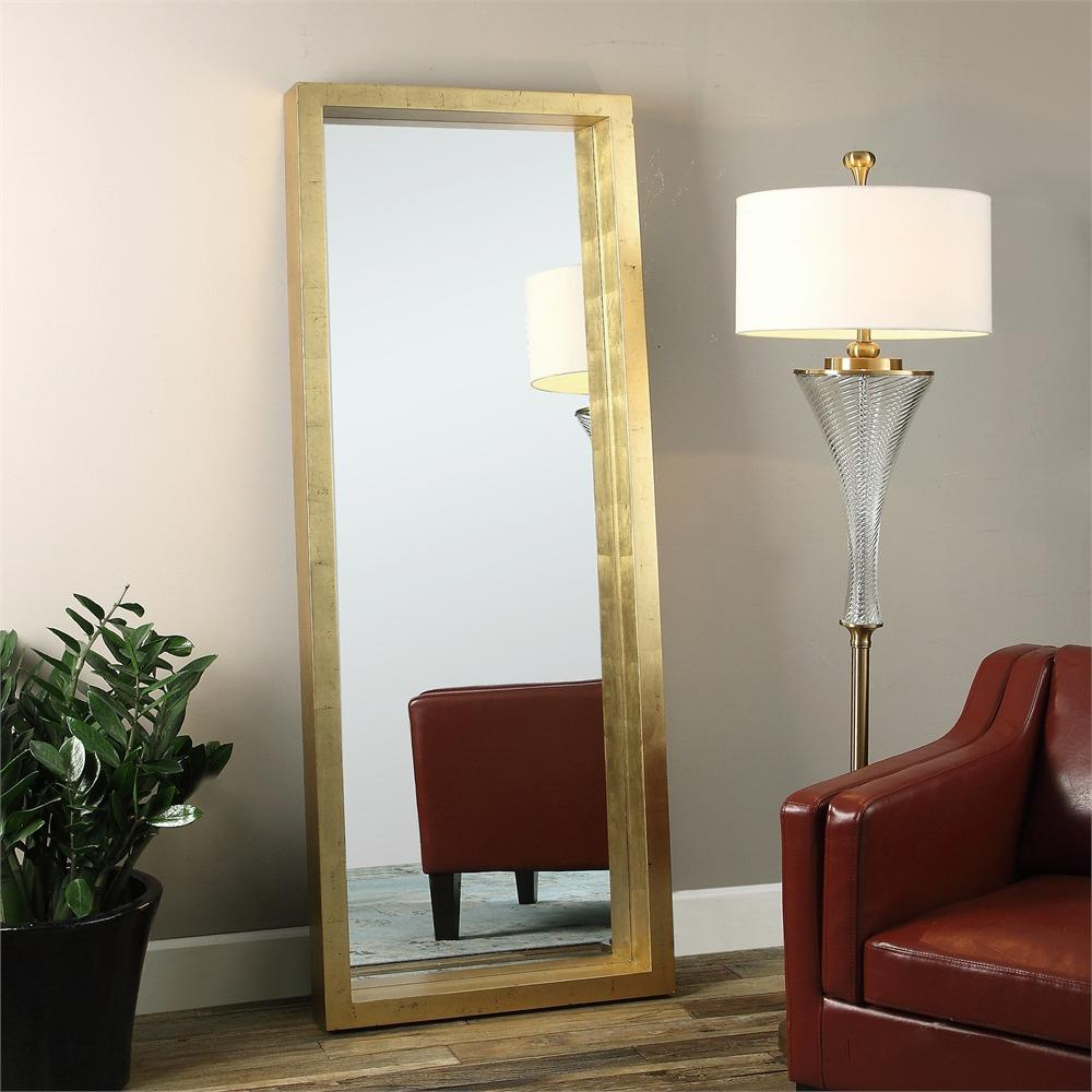 Eda Hollywood Antique Gold Block Floor Mirror Kathy Kuo Home
