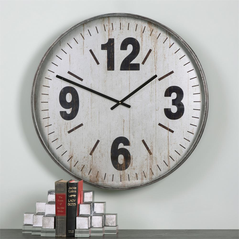 Industrial Loft Antique Silver Rustic Wall Clock Kathy
