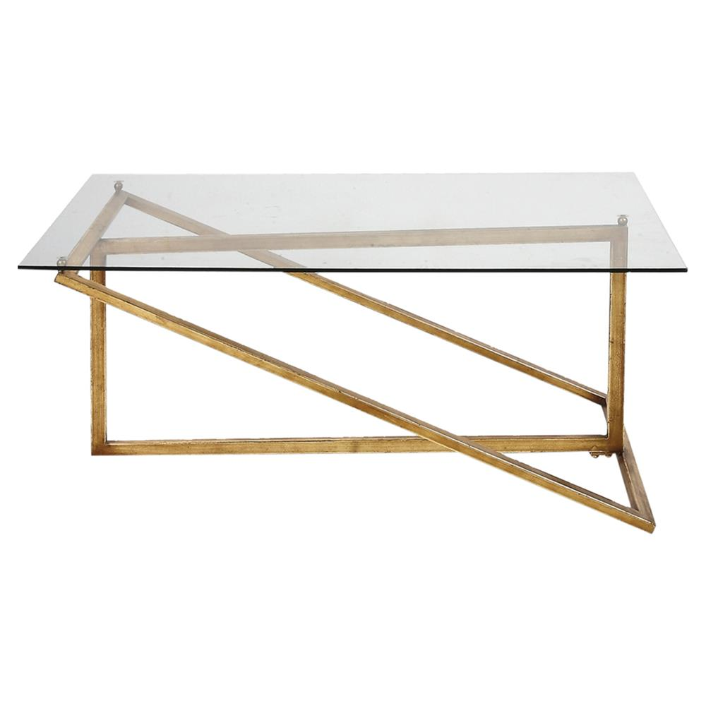Coffee Tables Jill Modern Minimal Gold Iron Glass Coffee Table