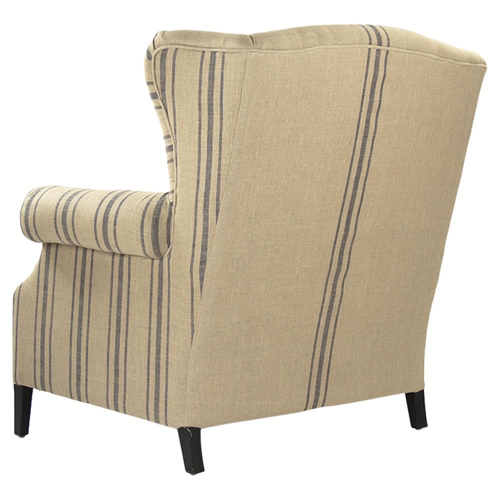 Stripe Armchair: Napoleon French Fog Linen Blue Stripe Wingback Accent Armchair