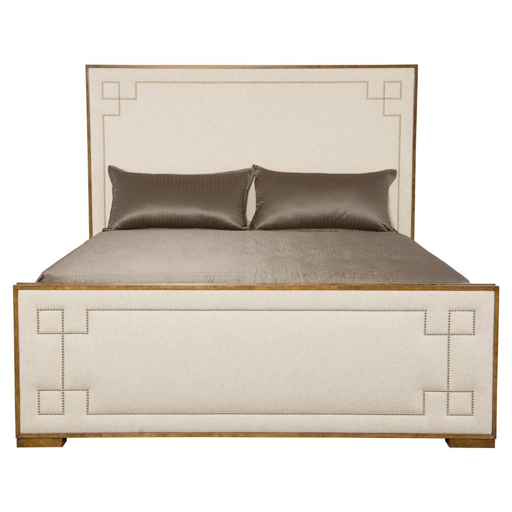Mercer Modern Silver Nailhead Upholstered Wood Bed - Queen ...