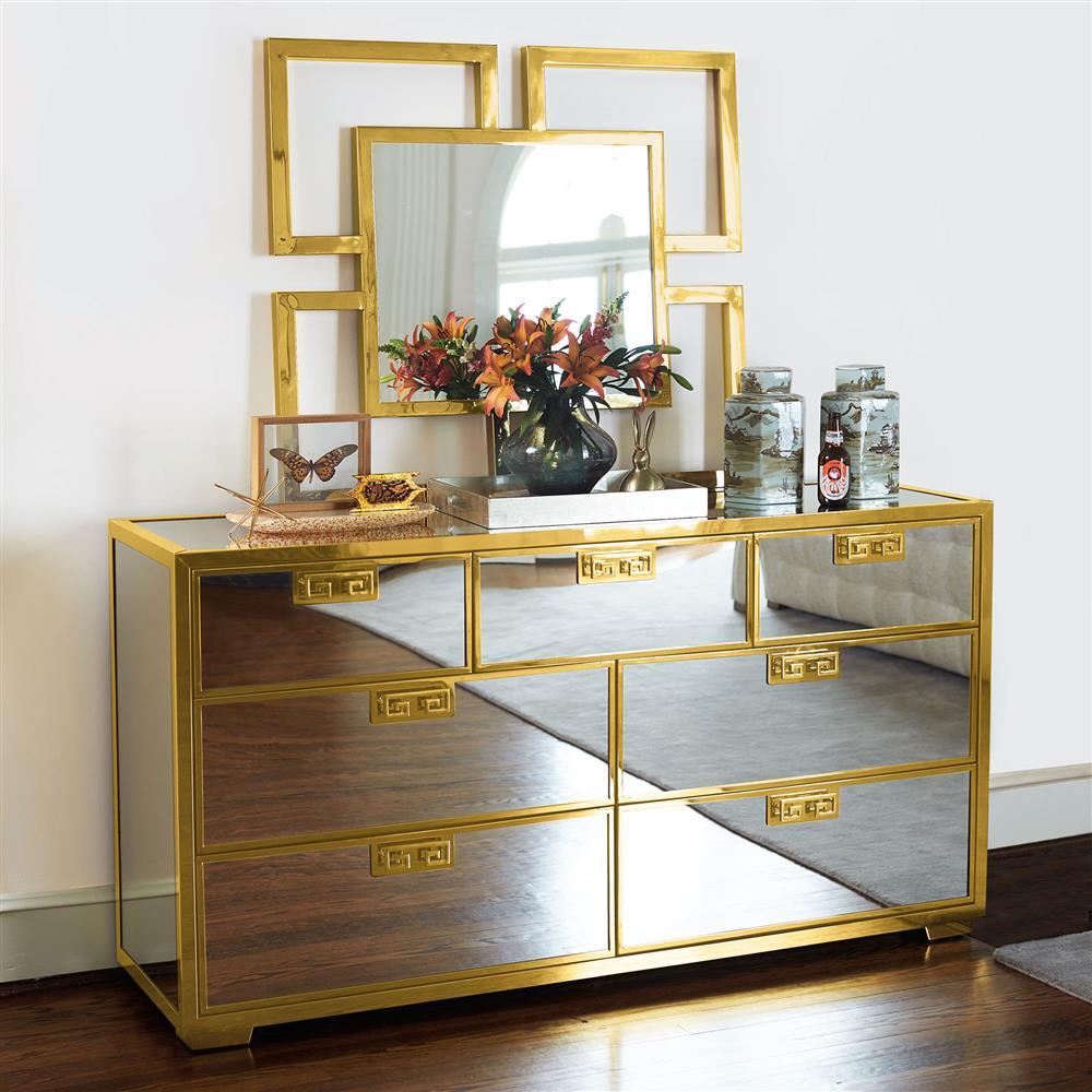 Mercer Mirrored Polished Gold Greek Key Dresser Kathy Kuo Home