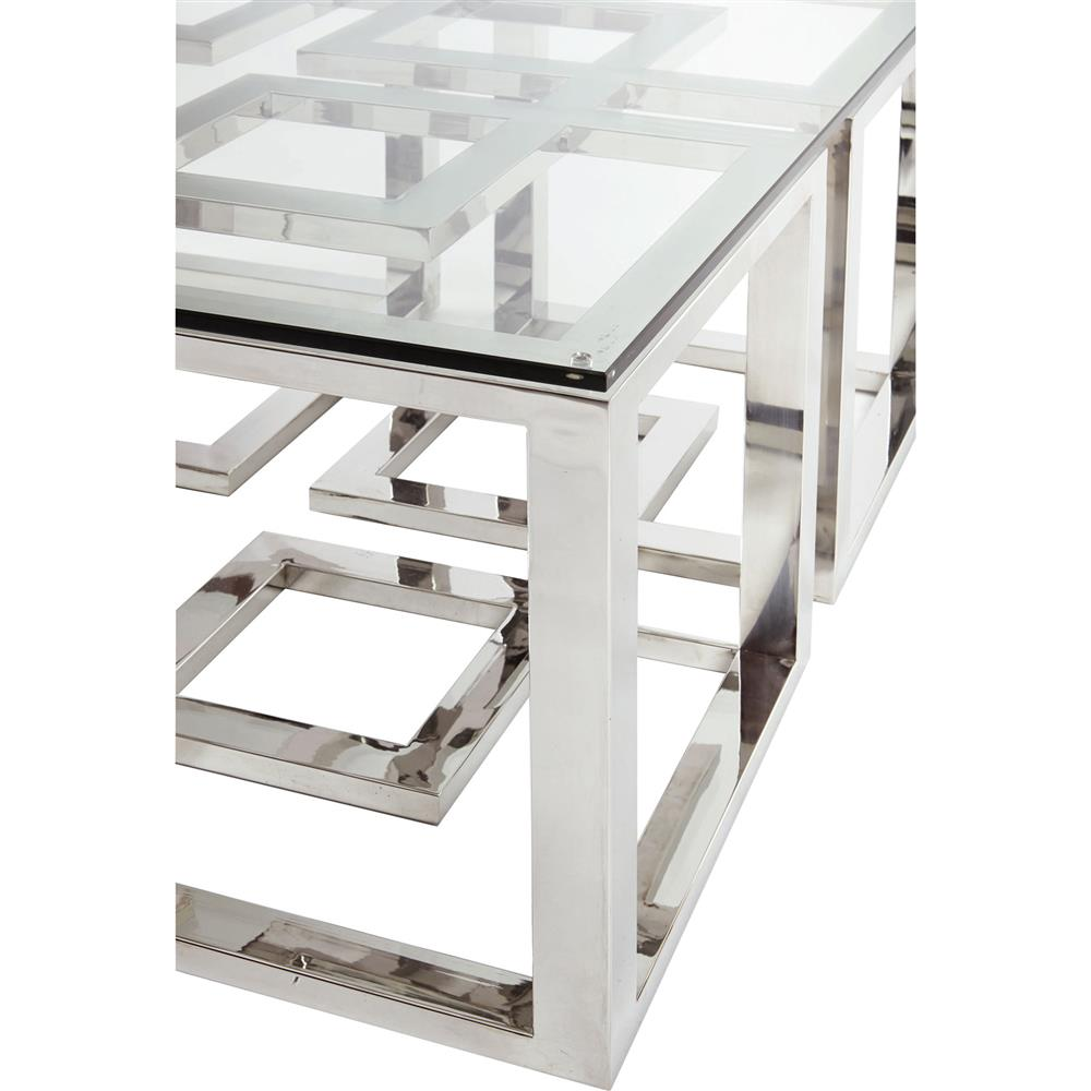 Mercer stainless steel silver square glass coffee table kathy kuo home Steel and glass coffee table