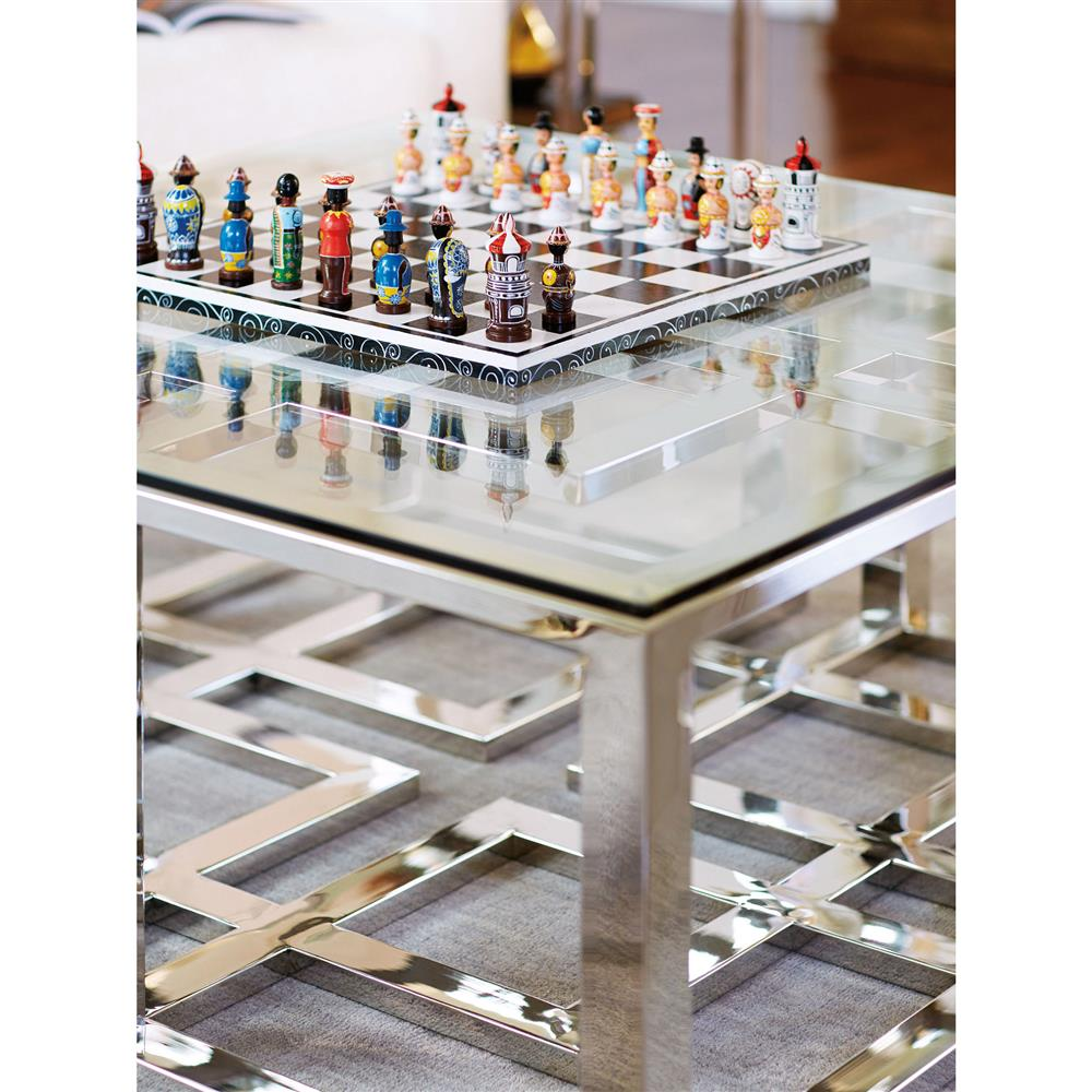 Mercer Stainless Steel Silver Square Glass Coffee Table Kathy Kuo Home