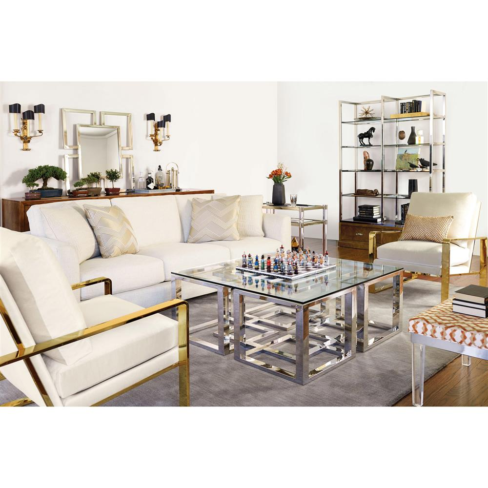 Mercer Stainless Steel Silver Square Glass Coffee Table | Kathy Kuo Home
