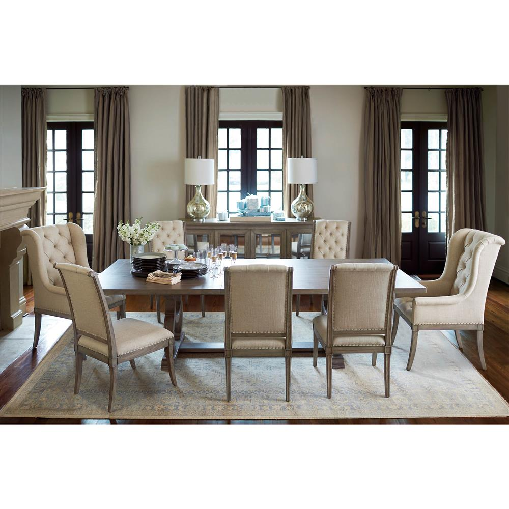 French country gray dining room - Michelle French Country Grey Oak Inlaid Extendable Dining Table Kathy Kuo Home