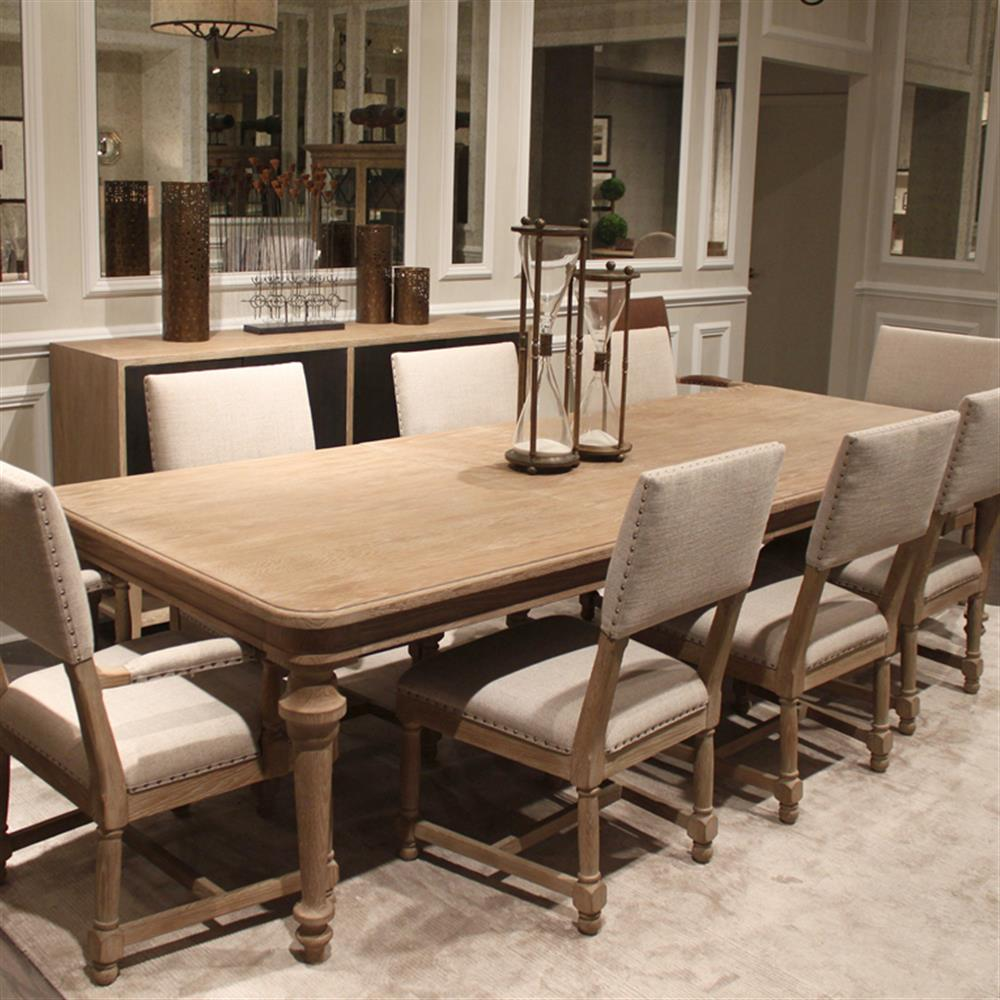 10 White Rustic Rooms: Odette Rustic Country White Oak Antique Baluster Dining Table