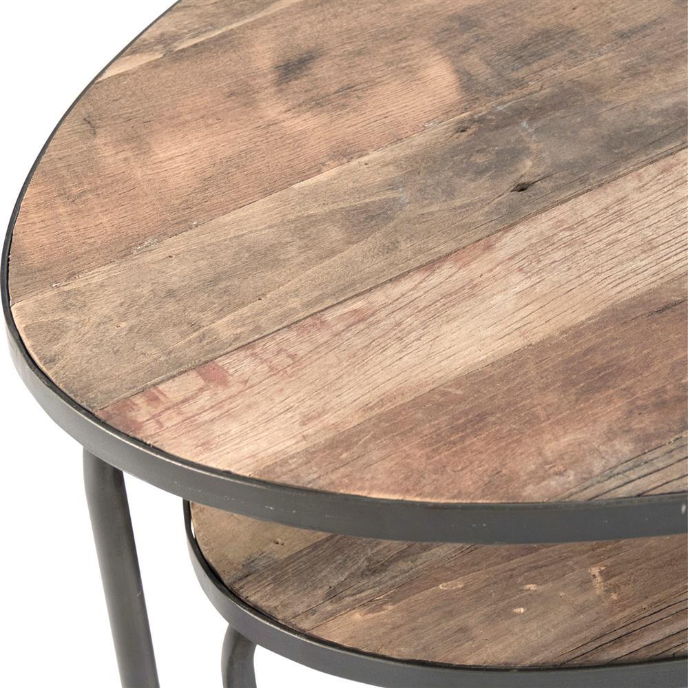 Herten Industrial Loft Rustic Wood Metal Frame Oval Coffee