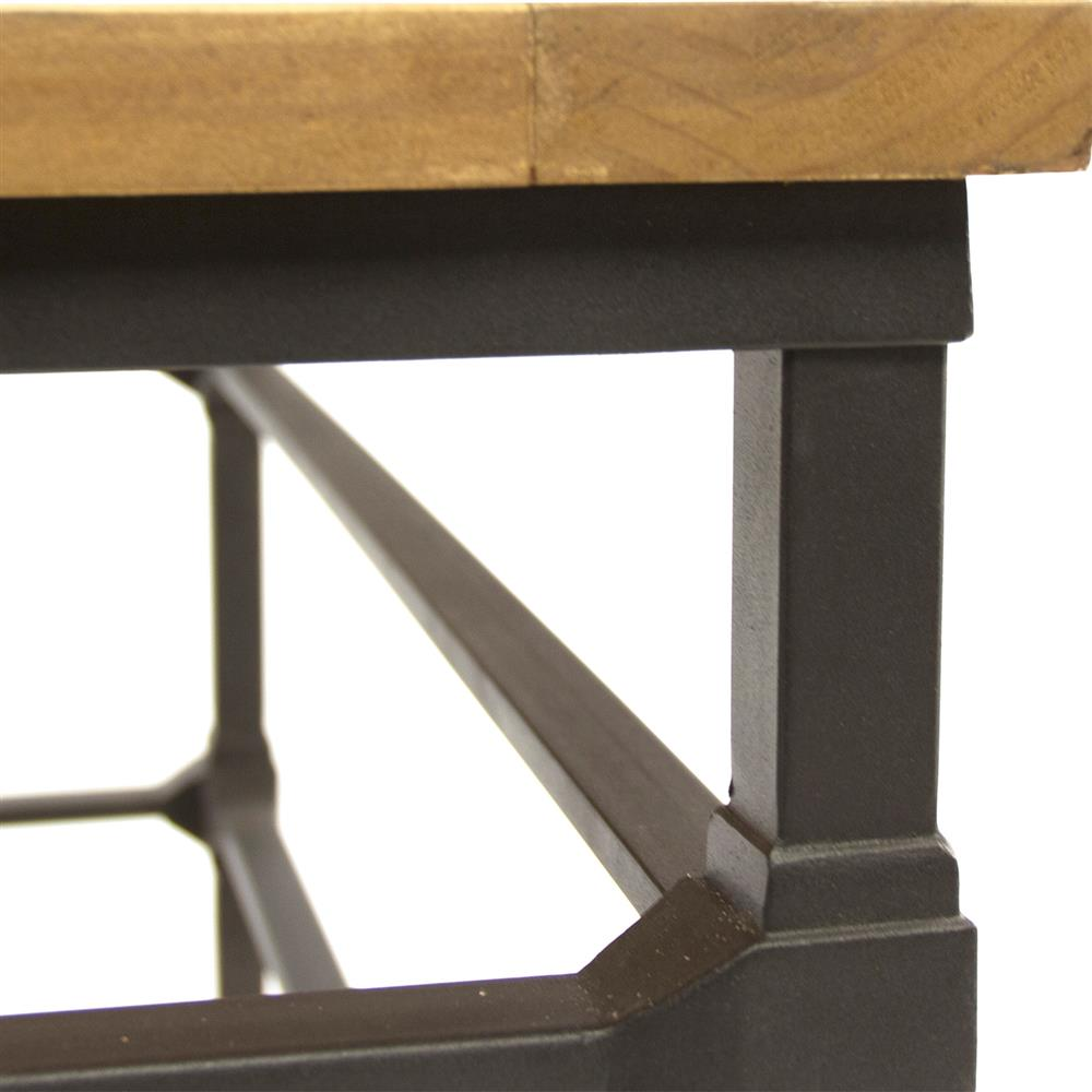 French Wood Coffee Table: Amandine French Country Teak Wood Metal Framework Coffee Table