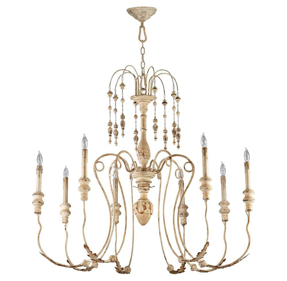 Maison french country antique white 8 light chandelier kathy kuo home view full size mozeypictures Choice Image