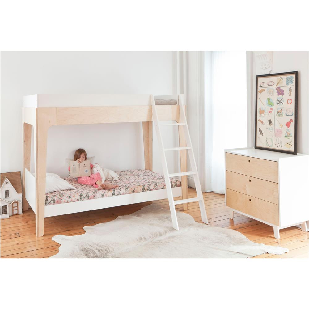 Perch modern classic oeuf twin bunk bed birch kathy kuo home - Lit superpose decale ...