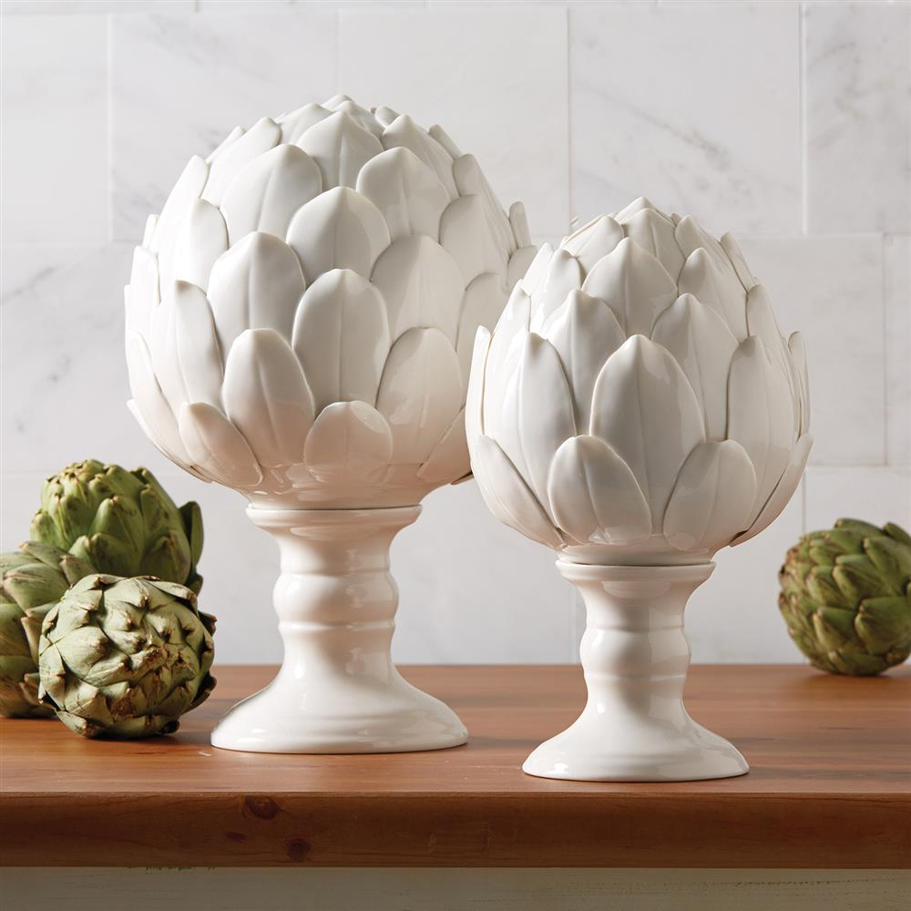 Modern classic white ceramic artichoke sculptures set of for Contemporary decorative accessories
