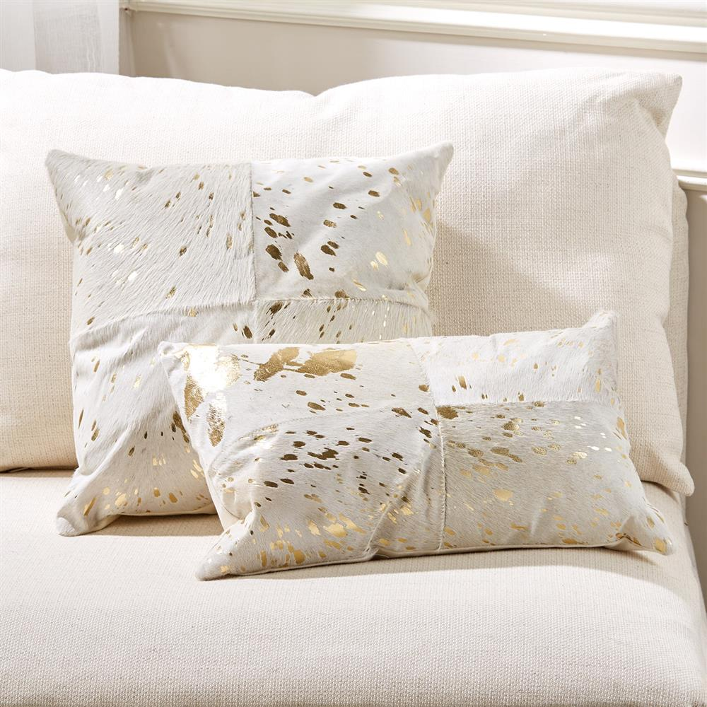 Global bazaar gold ivory cowhide decorative pillows set for Decor pillows