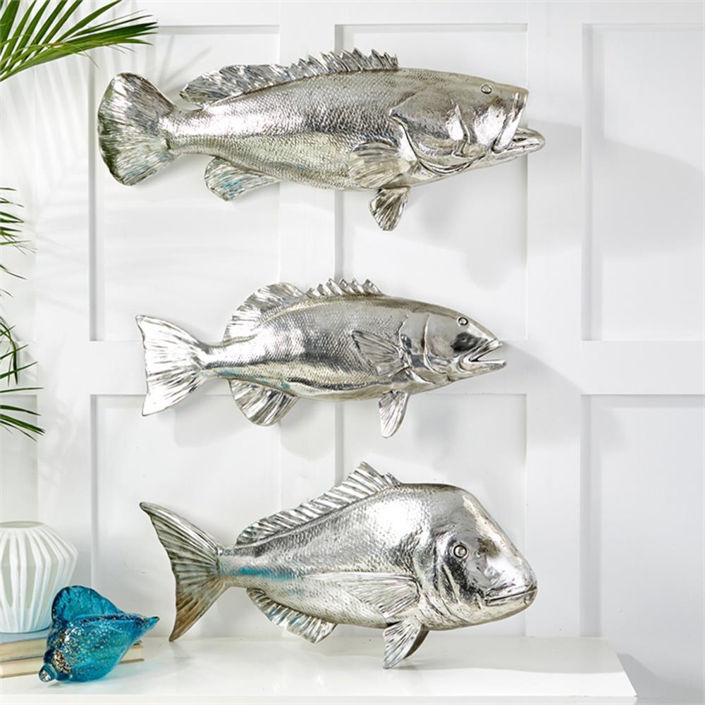 Coastal beach silver fish wall sculptures set of 3 for Fish wall sculptures