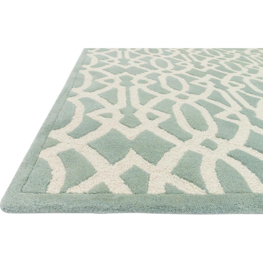 Jemi Classic Sea Green Trellis Wool Rug - Sample