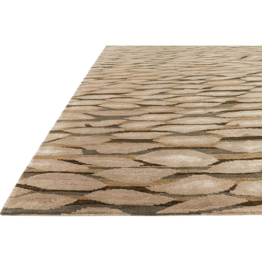 Modern Leaves Rug: Buono Modern Layered Leaf Brown Wool Rug -5'6x8'6