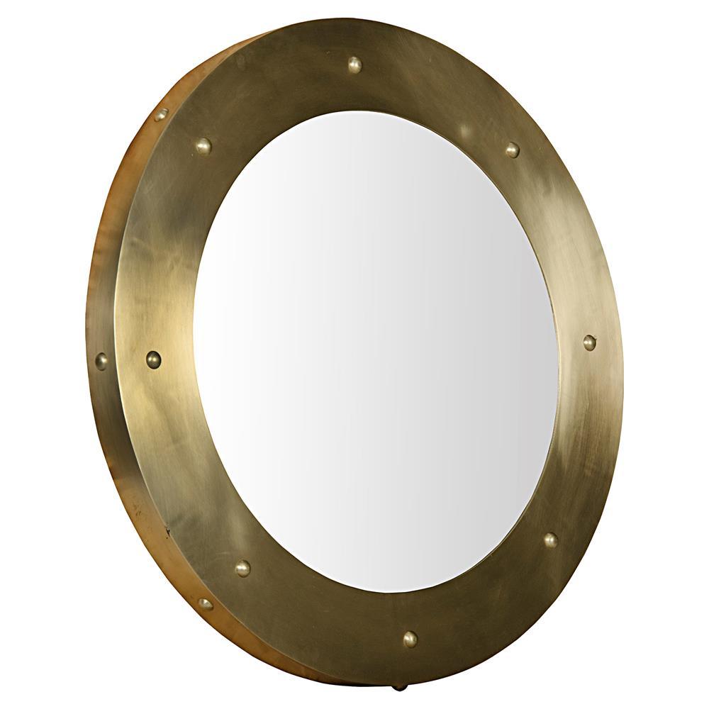 Xavier modern antique bras round metal mirror 36d Modern round mirror