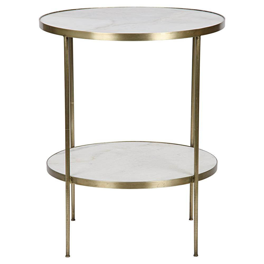 Elanor Modern Gold Frame 2 Tier White Stone Round Side Table