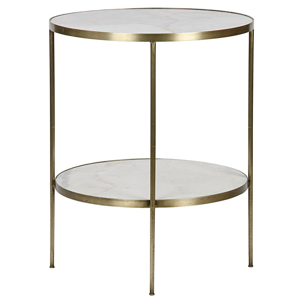 Elanor Modern Gold Frame 2 Tier White Stone Round Side Table Kathy Kuo Home