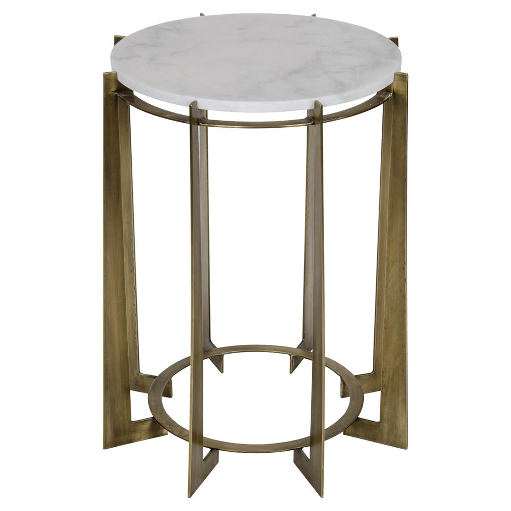 Leonard regency antique brass metal drum white quartz side for Drum side table
