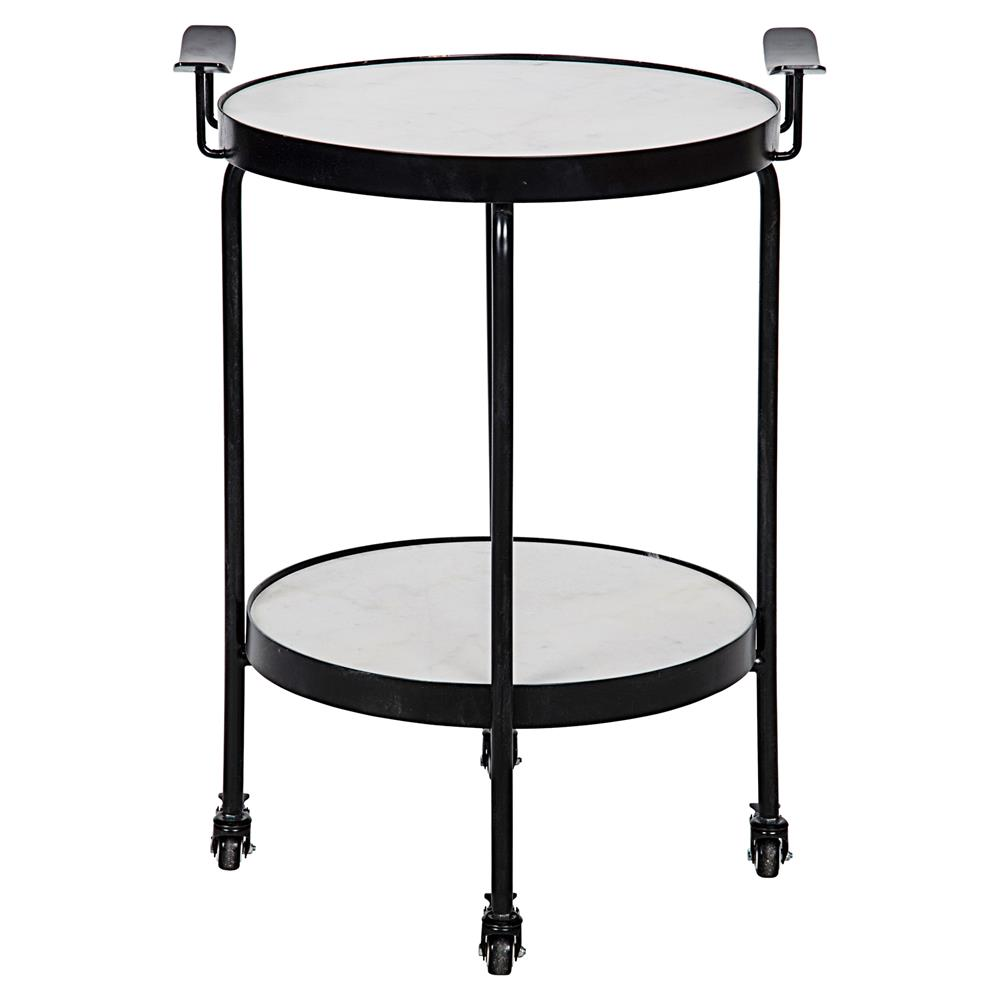 Berend industrial black metal wheeled round side table for Black round end table