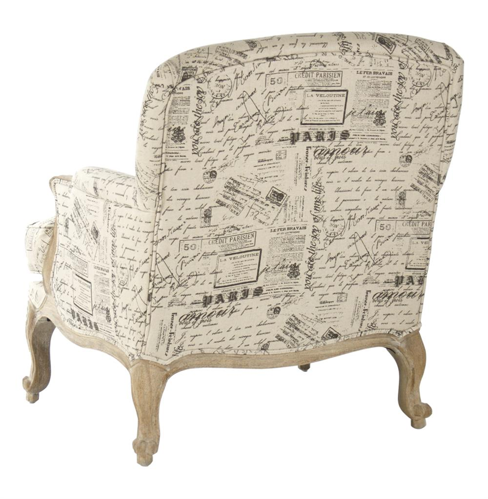 French Country Script Chairs ~ French country literary script linen club chair kathy