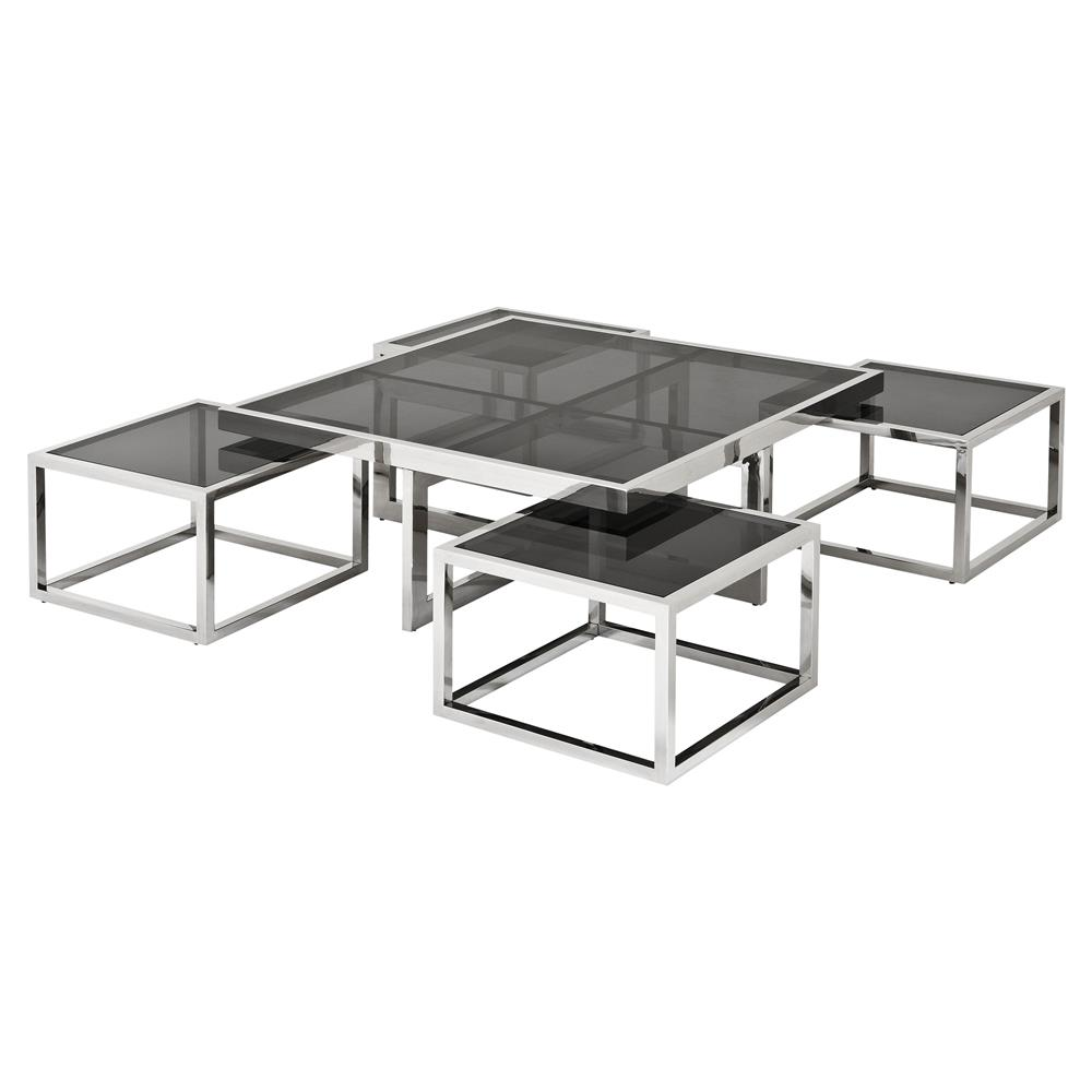Glass And Silver Square Coffee Table: Eichholtz Brubeck Hollywood Silver Black Glass 5-Piece