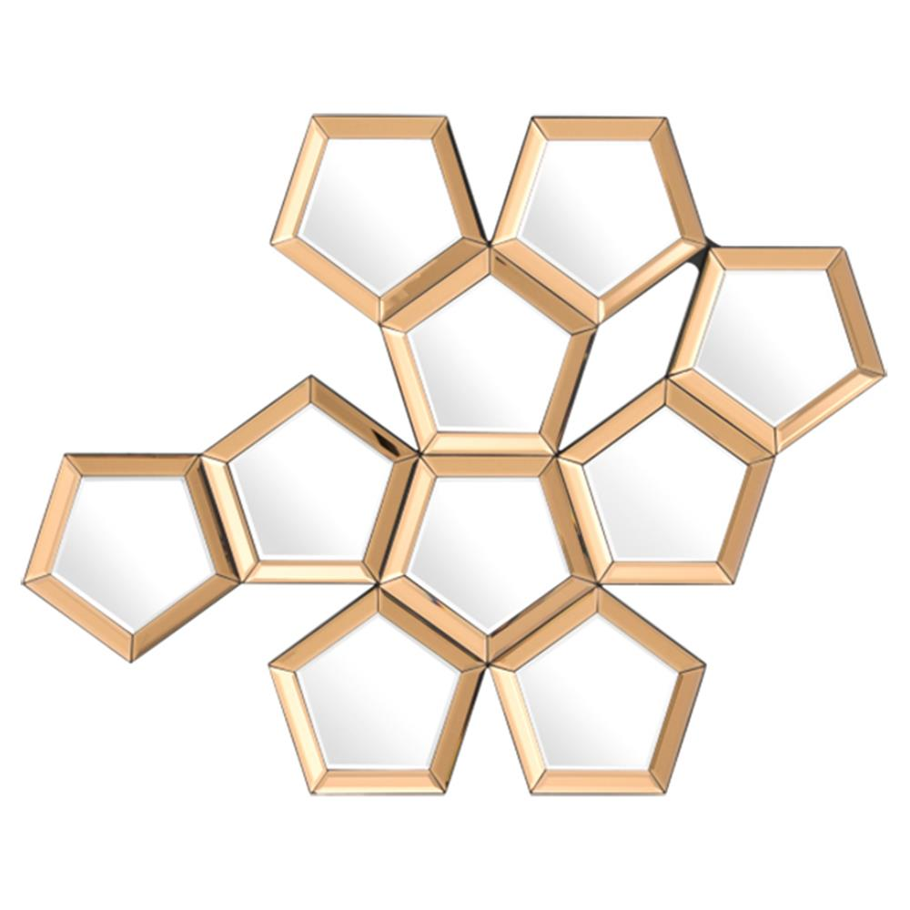 Modern Classic Gold Beveled Honeycomb Wall Mounted Mirror