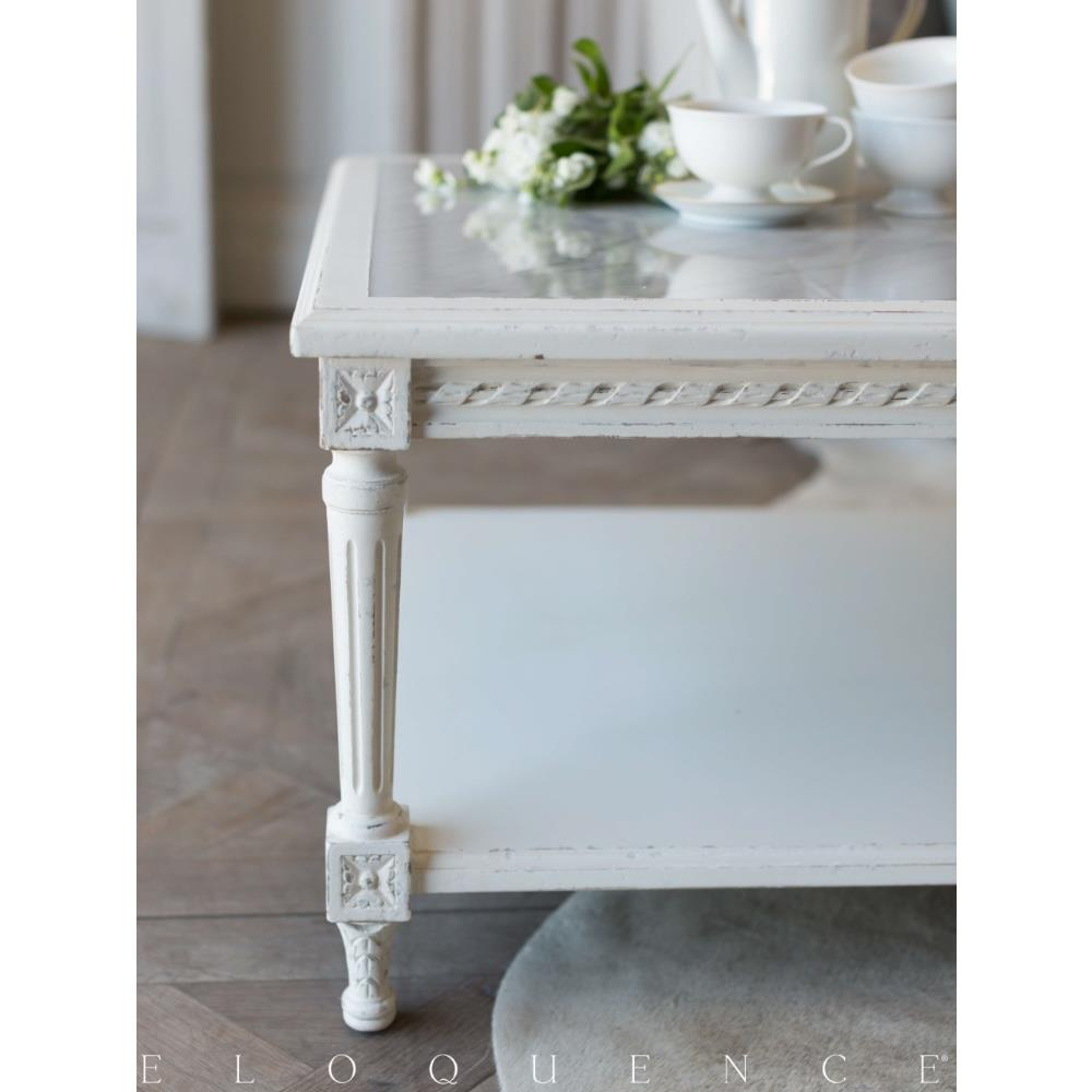 Eloquence® Grande Le Courte Coffee Table In Antique White | Kathy Kuo Home