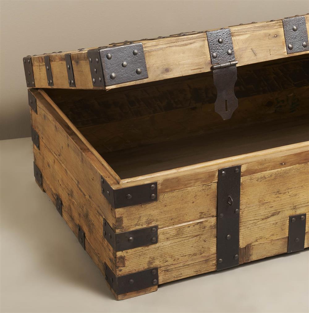 gaston large rustic wood iron coffee table trunk kathy
